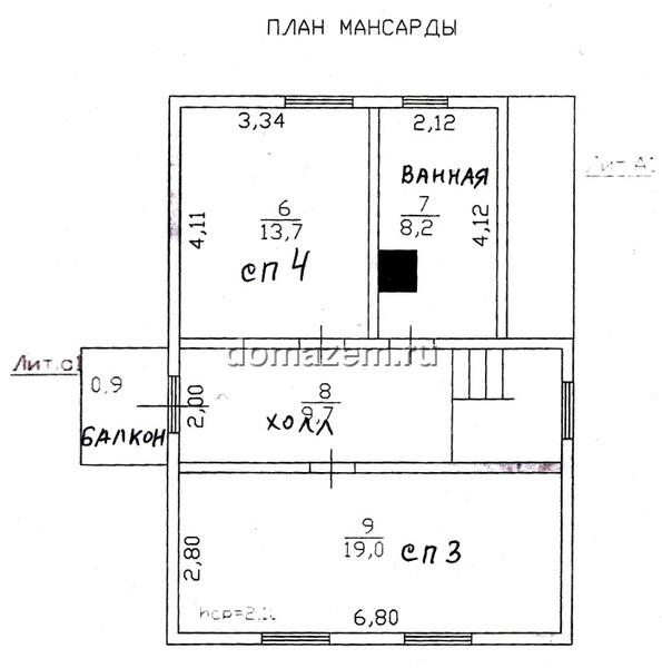 План второго жилого этажа.