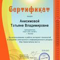 Сертификат за использование в работе интернет-технологий и создание электронного