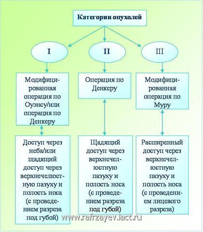 Рис. 6. Схема тактики хирургического вмешательства при  базально-распространенной форме ЮАН (при опухолях I, II и III категории)