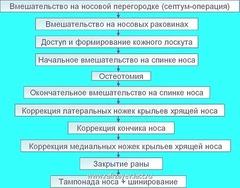 Последовательность основных этапов ринопластики.