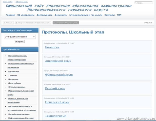 Протоколы-рейтинги на сайте Управления образования администрации Минераловодского городского округа
