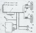 Схема электрических соединений жгута электроусилителя (вид колодок со стороны штекеров)