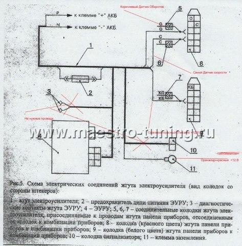 Электрическая схема электроусилителя руля на калина