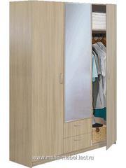Шкаф 3-х дверный с зеркалом Эконом (5.14) (Ясень шимо)