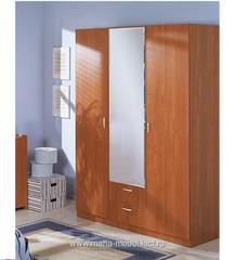 Шкаф 3-х дверный с зеркалом Эконом (5.14) (Вишня) Лидер продаж