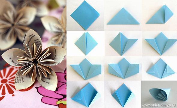 Цветок оригами из бумаги схемы