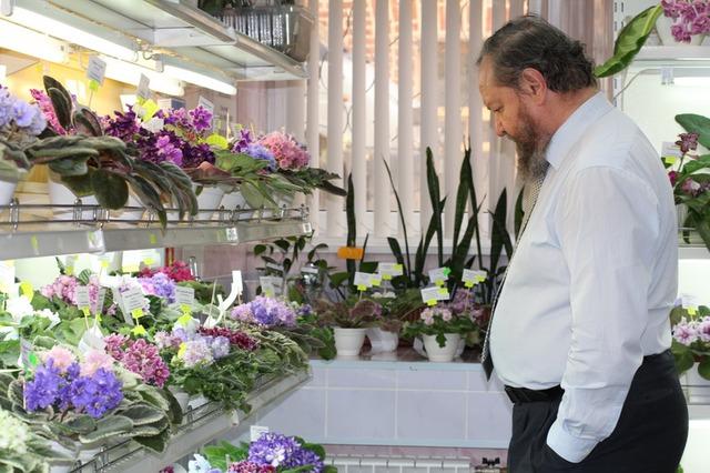Владимир Николаевич Калгин - директор Дома фиалки и главный судья выставки делает обход фиалочных рядов!