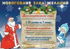 Завершилась ежегодная благотворительная акция Новогодняя Елка Желаний в ТЦ Секрет
