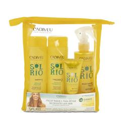 "Набор Sol do Rio ""Бархатный сезон""(косметичка)  Shampoo 250ml + Conditioner 250ml + Re - Charge Protein 250ml + Beach Waves 215ml  + Charge Protein 50ml"